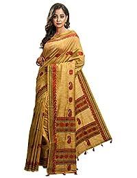 Avik Creations Women's Assam Silk Art Silk Traditional Saree Golden Red