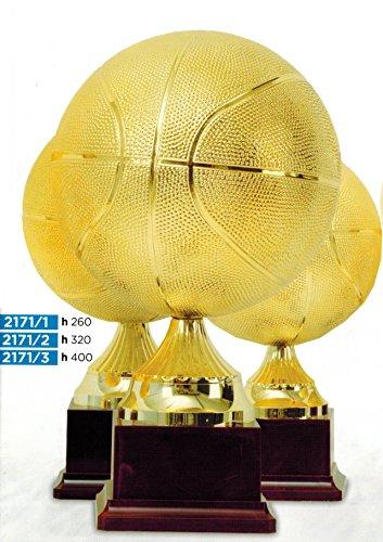 Trophée ballon basket doré-H 26cm-Fabrication artisanale-Fabriqué en Italie