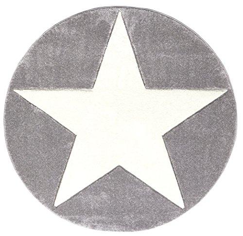 Happy Rugs - Alfombra infantil, motivo de estrella, color blanco y gris, 133 cm, redonda