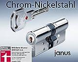 BKS Profilzylinder Janus 46 ink. Sicherungskarte mit5 Schlüsseln/ VDS zertifiziert / Maße 31 / 31 Chrom Nickelstahl mit Not und Gefahrenfunktion