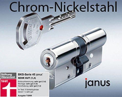 BKS Profilzylinder Janus 46 Chrom -Nickelstahl ink. Sicherungskarte / mit 6 Schlüsseln Maße A 35 / I 55 mit Not und Gefahrenfunktion und höchster Sicherungsklasse VDS