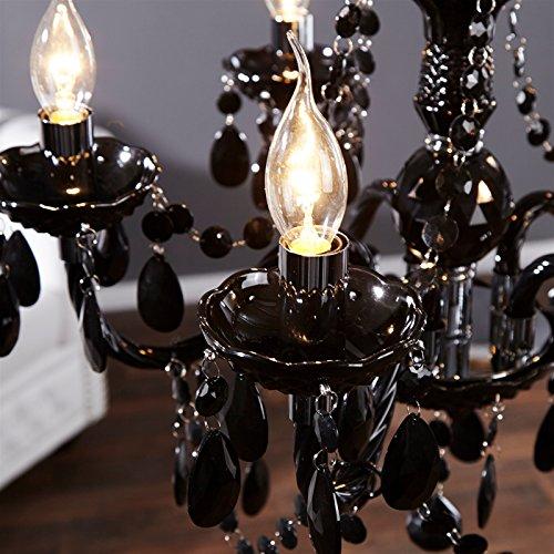 Schwarzer Kronleuchter mit Acrylkristallen, 5 armig - 3
