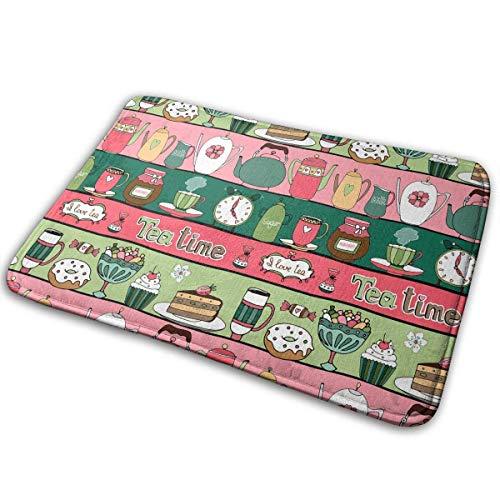Uosliks Tea Donut Cake Coffee Candy Doormat Anti-Slip House Garden Gate Carpet Türmatte Floor Pads 15.7