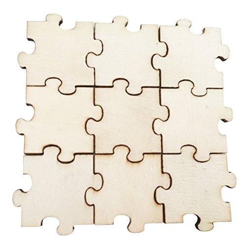 olz Puzzle Chips Holz Stücke Ausschnitte Ornamente Kinder Puzzle Hand bemalt DIY Material für Handwerk Liefert Kinder Party Dekoration 50 STÜCKE ()