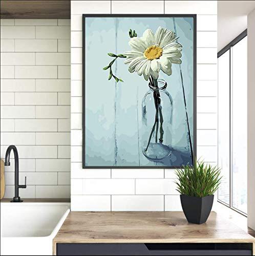 HLZQQ Blume Weiß Chrysantheme Digitales Ölgemälde Frameless Handgezeichnete Modem Stil Stillleben Bild Geschenk Für Cristmas 40X