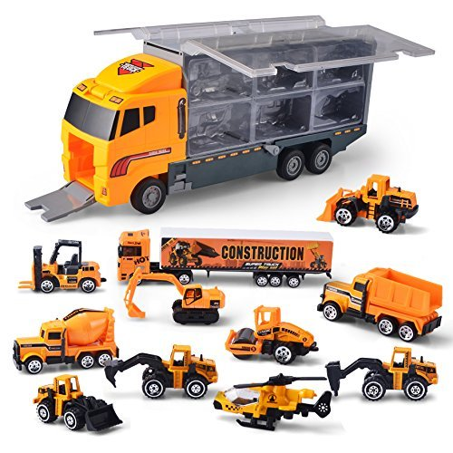 JOYIN 11 in 1 Die-cast Construction Truck Vehicle Toddler Car Toys Set Play Vehicles in Carrier Truck