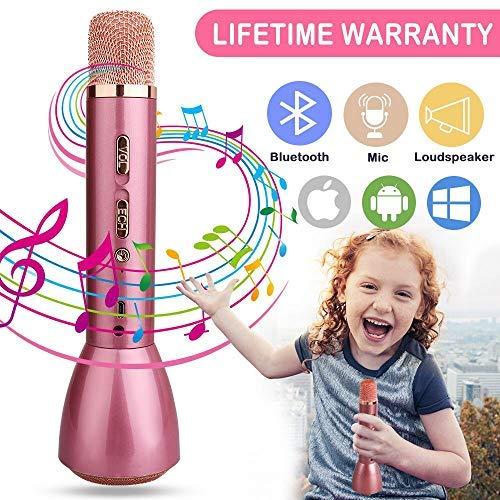 Karaoke Mikrofon,Bluetooth Mikrofon Drahtlos Karaoke Mikrofon Batterie Mikrofon Kabellos Anlage mit Lautsprecher für Erwachsene Kinder KTV Karaoke Player kompatibel PC, Laptop, iPhone, iPad, Android