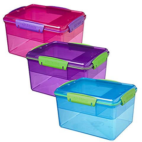 Sistema Large Two Tier Lunch Boxes 2.3L VALUE 3 PACK 11.5 x 18 x 14cm with Clip Top Airtight Seal Lid Inner Snack Compartments Strong BPA-Free Dishwasher & Microwave Safe Plastic Made in New