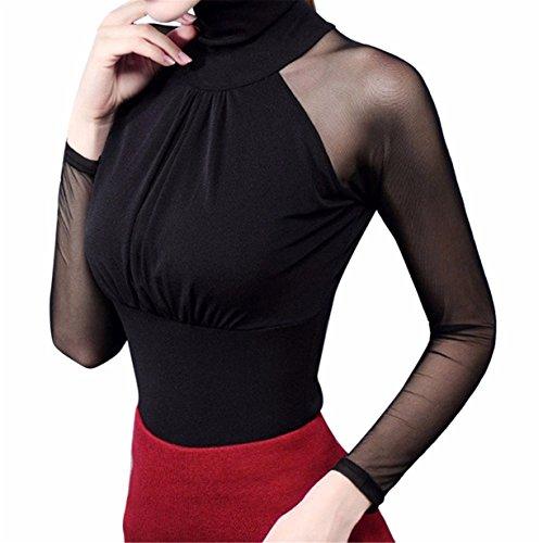 Mujer Camiseta Blusa Transparente Suéter de Cuello Alto Mangas Largas Elegante Moda Oficina Casual, ❤️ Longra (Negro, M)