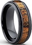 Ultimate Metals Co. 8MM Herren Schwarz Titan Ehering mit Holzeinlage,Bequemlichkeit Passen Größe 62