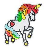 MissBirdler Einhorn Aufbügler Jeans Stoff Kleidung Applikation Bügelbild Pferd Patch DIY Pailletten für Textilien 8 cm