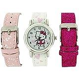 Hello Kitty Mädchenuhr, weißes Zifferb., 3 austauschbare Uhrbänder Set
