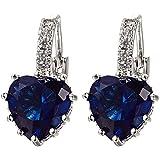 Contever® Joyería Pendientes Aretes Original Regalos Para Mujer Corazón Con Rhinestone (Azul)