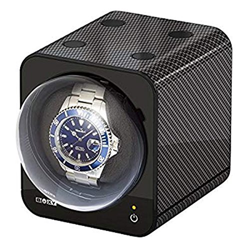 Boxy Fancy Brick CARBON - Watch Winder incl. UK Power Adapter - by Beco Technic - Modular system - Power Sharing Technology - Programmable - High Quality