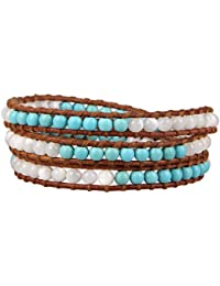 KELITCH Mode Elegant Sommer Schmuck Blass Blau Weiß Türkis Beads 3-fach Bracelet Manschette Armband WickelArmband - Braun Leder