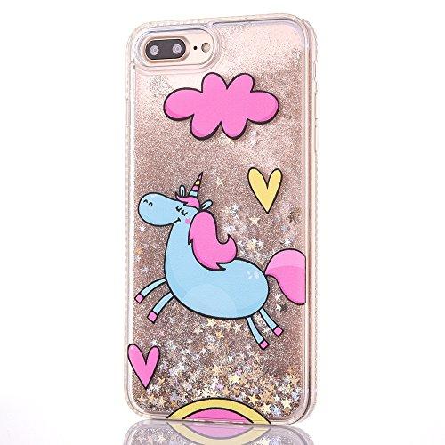 coque iphone 8 plus paillette liquide rose