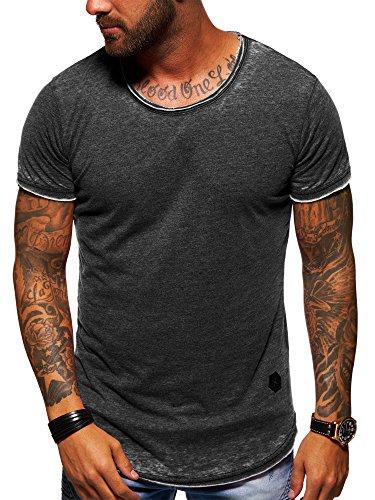 Herren Vintage Schwarz T-shirt (behype. Herren Oversize Kurzarm T-Shirt Rundhals O-Neck Vintage Shirt 20-1740 Schwarz L)