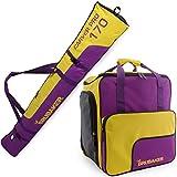 BRUBAKER Kombi Set Carver PRO - Limited Edition - Skisack und Skischuhtasche für 1 Paar Ski bis 170 cm + Stöcke + Schuhe + Helm Lila Gelb