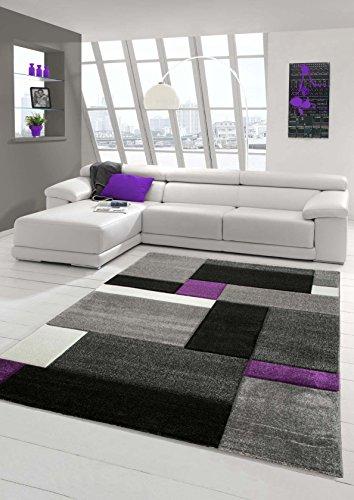 Designer Teppich Moderner Teppich Wohnzimmer Teppich Kurzflor Teppich mit Konturenschnitt Karo Muster Lila Grau Cream Schwarz Größe 80 x 300 cm