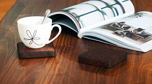 K&C Handgefertigte quadratische Holz Tisch Untersetzer Holz Tee Untersetzer Tischplatte Zubehör 2 Stk