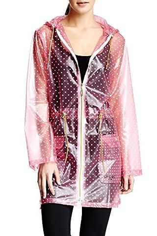 Isaac Mizrahi Women's Hooded Transparent Anorak Rain Jacket - Pink