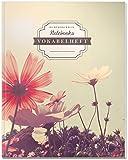 DÉKOKIND Vokabelheft   DIN A4, 84 Seiten, 2 Spalten, Register, Vintage Softcover   Dickes Vokabelbuch   Motiv: Blumenwiese