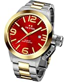 TW Steel Canteen Unisex Quartz Watch with Red Dial Analogue Display and Silver Stainless Steel Bracelet CB71