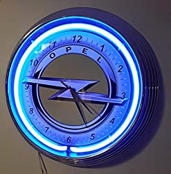 NEON CLOCK - NEW OPEL YELLOW GARAGE SIGN WALLCLOCK BLUE NEON RIM!