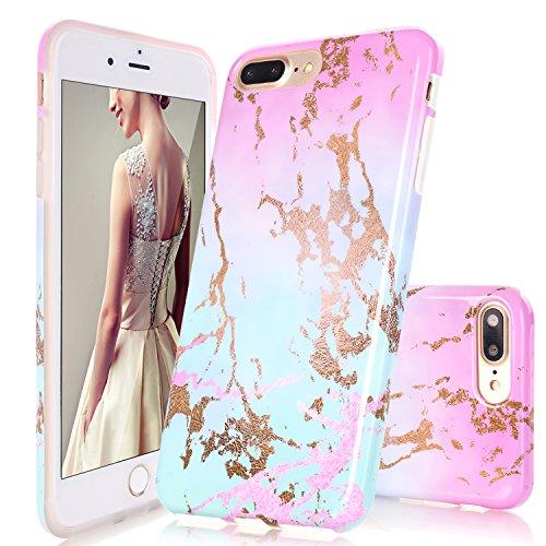 iPhone 7Plus Fall, iPhone 8Plus Fall, doujiaz Marmor Design Transparent Bumper TPU Soft Case Gummi Silikon Haut Cover Für iPhone 7Plus (2016)/iPhone 8Plus (2017), Dream Mint Silikon Iphone-fall
