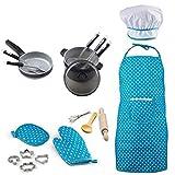 Foxom 19 Stück Kochschürze Set für Kinder, Kinder Kochset Spielküche Zubehör mit Schürze und Kochgeschirr Kinderküche Spielzeug für Kinder ab 3 Jahre