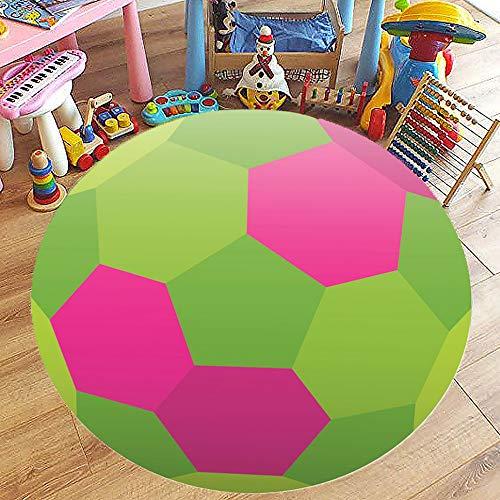 Rund Teppich Wohnzimmer Kinderzimmer Schlafzimmer Kuche Esszimmer, Morbuy 3D Ball Anti Rutsch Unterlage Teppiche Modern rutschfest Waschbare Weiche Spielmatte (80x80cm,Rosa) -