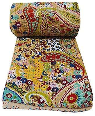 ganesham- indischen Hippie Gypsy Boho Decke bohemianthrow Decke Baumwolle Kantha Bettwäsche, Hand bestickt Vintage Queen Kantha Quilt Luxus flach Betten, Bohemian Tagesdecke 228,6x 274,3cm (Queen-betten Vintage)