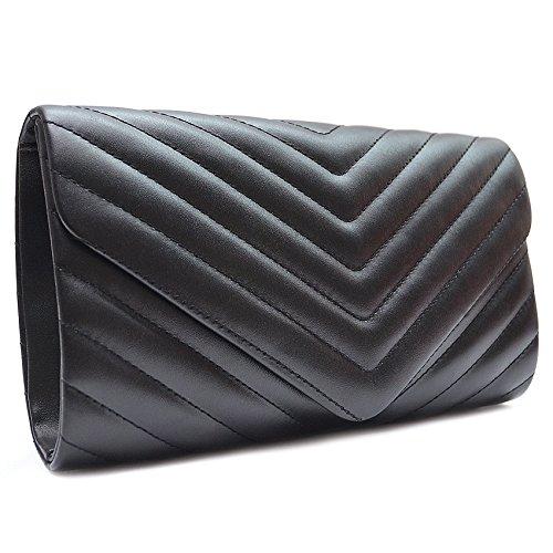 Vain Secrets Damen Handtasche Umhänge Tasche Clutch Abendtaschen gesteppt in vielen Farben (24 cm Lang - 14 cm Hoch - 6 cm Breit, Schwarz) -