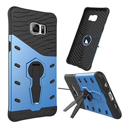Für Samsung Galaxy S6 Edge Plus Case Tough Hybrid Heavy Duty Schock Proof Defender Cover Dual Layer Armor Combo Mit 360 ° Swivel Stand Schutzhülle Fall ( Color : Red ) Blue