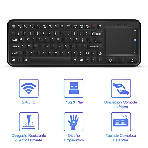 YOHOOLYO 2,4G Mini Teclado Inalámbrico USB con Ratón Touchpad para Android Smart TV Box Mini PC Windows iOS MAC Linux