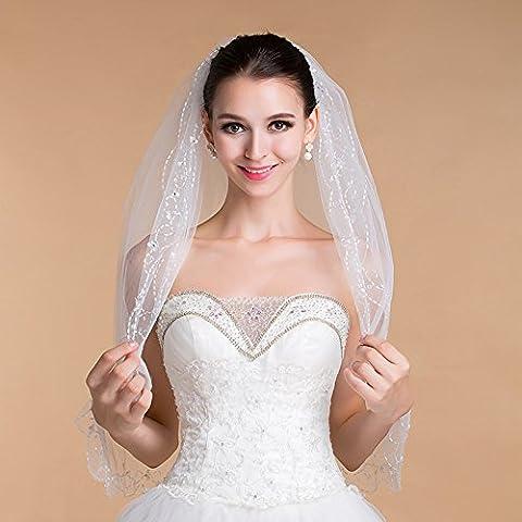 Joyería de la boda de gama alta con doble capa blanco marfil Velo de la Novia