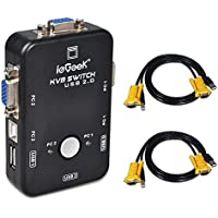 ieGeek KVM Switch 2-Port USB VGA KVM Switch Box Adapter for PC Monitor Keyboard Mouse Control with 2 VGA Cables, Resolution up to 1920x1440 USB2.0 (2 Port)