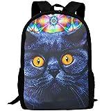 best& Casual Cat with Sunglassess Laptop Backpack School Bag Shoulder Bag Travel Daypack Handbag