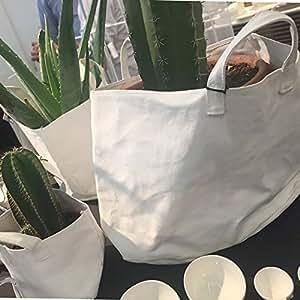 Cache-pot en toile blanche – modèle moyen