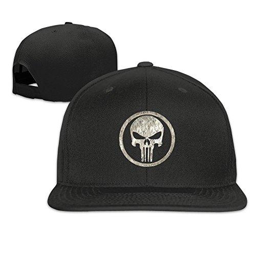 Hittings The Punisher Unisex Fashion Cool Adjustable Snapback Baseball Cap Hat One Size Black