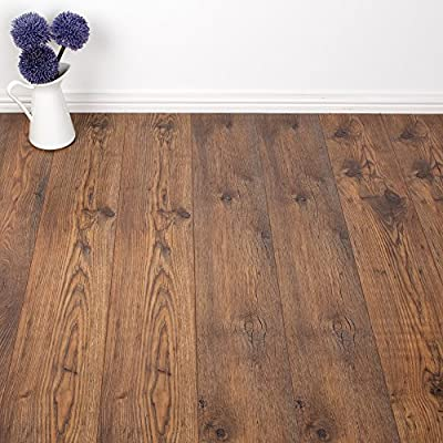 8mm - AC4 V-Groove - Laminate Flooring - Rustic Chestnut Oak - 2.22sqm - cheap UK light store.