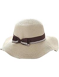 Leisial Signora di Estate Cappello da Sole Donna Colore Puro Carino Bowknot Cappello  da Spiaggia Pieghevole ed5e08b8d044