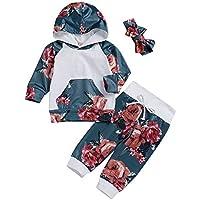 JYC Conjunto de Ropa para Niñas,Conjuntos para niñas Bebe,Recién Nacido Infantil Bebé Niña Floral TopsCapucha Pantalones Trajes 3 Piezas Conjunto Ropa