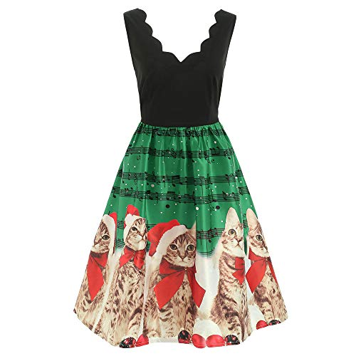 VEMOW Damen Elegantes Cocktailkleid Abendkleid Damen Mode Sleeveless Christmas Cats Musical Notes Print Beiläufig Täglich Vintage Flare Dress(Grün, ()