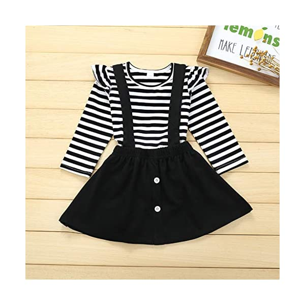 Conjuntos para bebés, Invierno Niños pequeños Bebés Niñas Camiseta de Manga Larga a Rayas Tops Correa Tirantes Faldas… 2