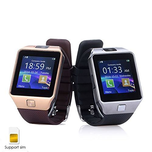 ShopAIS Samsung GALAXY CORE PRIME 4G Compatible and Certified DZ09 Smart Watch (Gold/Silver) Bluetooth Smart Watch Phone With Camera and Sim Card Support With Apps like Facebook and WhatsApp Touch Screen Multilanguage Android/IOS Mobile Phone Wrist Watch -Assorted color