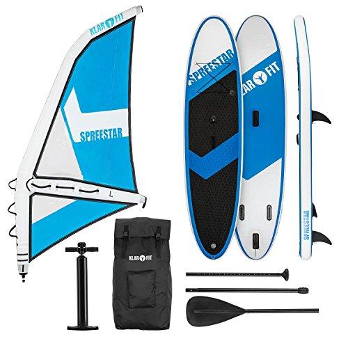 Klarfit Spreestar WL - Paddle Surf avec ou sans Voile, Sup Gonflable, Kit Complet, 300x10x71cm, Voile 5.2 m, Manomètre de Pompe à air, Sac de trasnport, Kit de réparation, Blanc et Bleu