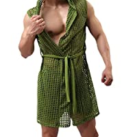 pujingge Men Sexy See-Through Lingerie Pajamas Hooded Sleeveless Robes Green XS