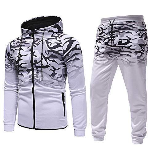 Trainingsanzug Herren mit Tarnung Druck Hoodie Sportanzug Männer Jogginganzug für Herren Sport Hosen+Kapuzepullover(Large,Weiß)