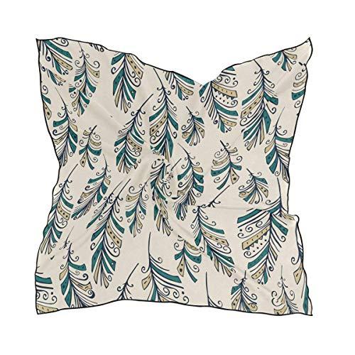 Xukmefat Womens Feathers Pattern Silk Feeling Square Scarf Satin Neck Scarves Head Hair Wraps